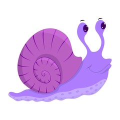 Deurstickers Sprookjeswereld Hand drawn snail. Natural colors. Collection of vector hand drawn elements. Illustration