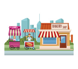Food booth and shops at city scenery cartoons vector illustration graphic design