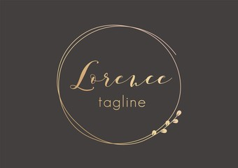 Premade golden logo design with minimalistic floral wreath. Feminine logotype template in elegant artistic style