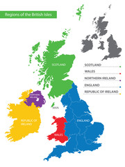 Color detailed map of the regions and countries of the British Isles