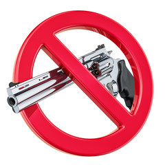 Revolver, gun inside forbidden sign, 3D rendering