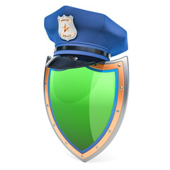 Shield with police cap, security and protect concept. 3D rendering