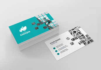 Teal Business Card Layout wih Patterned Photo Placeholder