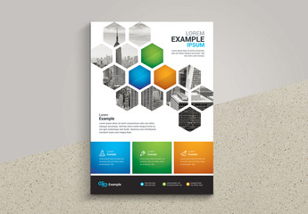 Business Flyer Layout with Hexagon Pattern Photo Placeholder