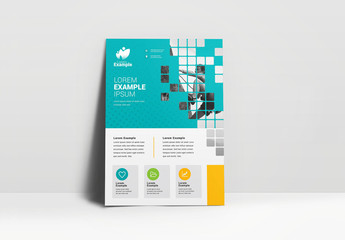 Teal Business Flyer Layout wih Patterned Photo Placeholder