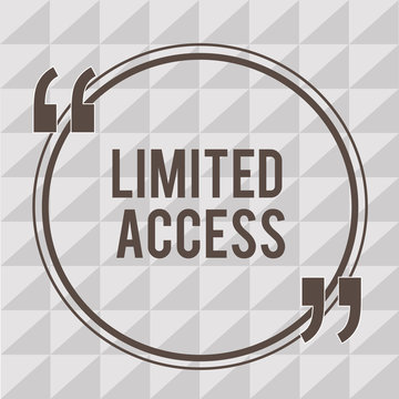 Word writing text Limited Access. Business concept for Having access restricted to a quite small number of points.