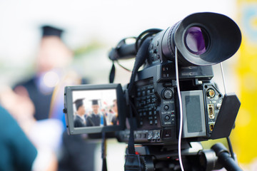 camera show viewfinder image catch motion in interview or broadcast wedding ceremony, catch feeling, stopped motion in best memorial day concept.Video Cinema From dslr camera.video cinema production .