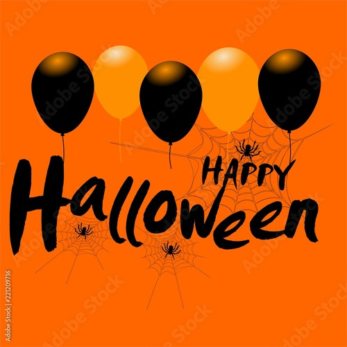 happy halloween message design background with balloons and spiders