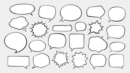 Set of comic speech bubbles. Cartoon vector illustration