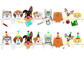 cute puppies and kitties border set with school items and with party hats and ties