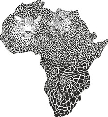 Leopards and giraffe on the map of Africa