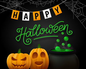 Happy Halloween flyer design with orange pumpkins, green potion in cauldron and party flags on black background. Vector illustration