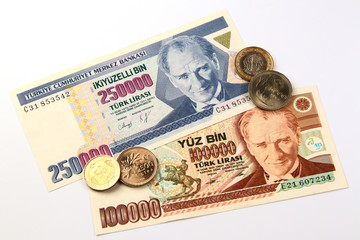 Turkish lira coins and banknote, currency of Turkey