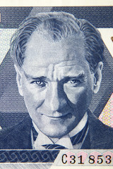 Turkish founder Ataturk portrait on the lira banknote, Turkey