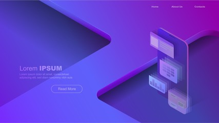 Concepts mobile usage, personal data. Header for website with smartphone and modules concept on blue violet background. Design for Landing Page. 3d isometric flat design. Vector illustration.