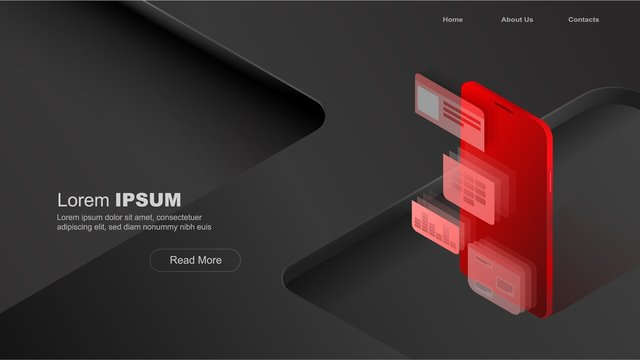 Concepts mobile usage, personal data. Header for website with smartphone and modules concept on black and red background. Design for Landing Page. 3d isometric flat design. Vector illustration.