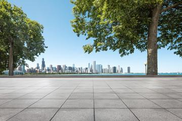 Fotomurales - empty ground with skyline in garden