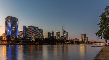 Frankfurt Skyline and Main River at Sunet