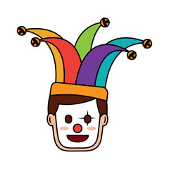 face man with clown mask and jester hat decoration