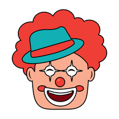 smiling clown face with hat and hair red