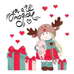 Merry Christmas Color Vector Illustration Set MAGIC GIFTS for Scrapbooking and Digital Print on Card and Photo Children's Albums