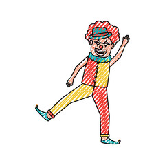 friendly funny clown performer character