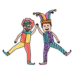 funny happy clown and man with jester clothes hat characters