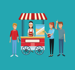 Popcorn stand and people
