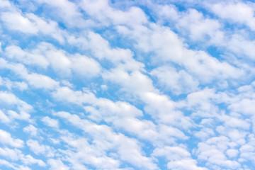 White fluffy cumulus clouds, blue sky