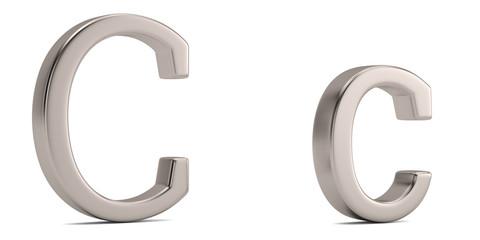 Steel metal c alphabet isolated on white background 3D illustration.