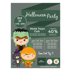 cute halloween poster with costume kids frankenstein flat style