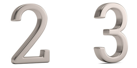 Steel metal numeral isolated on white background 3D illustration.
