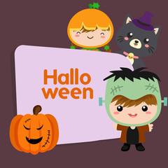 cute happy halloween trick or treat frankenstein costume kid