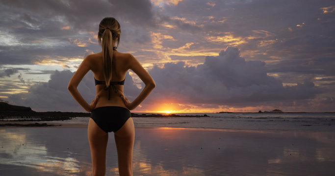 Young millennial woman in bikini with back to camera standing on beach at sunset