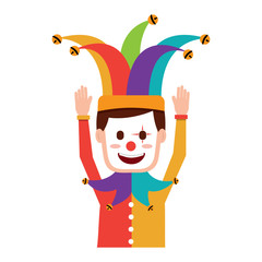 cartoon man with clown mask jester hat funny