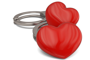 Handcuffs and hearts isolated on white background 3D illustration.