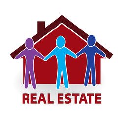 Logo real estate house people