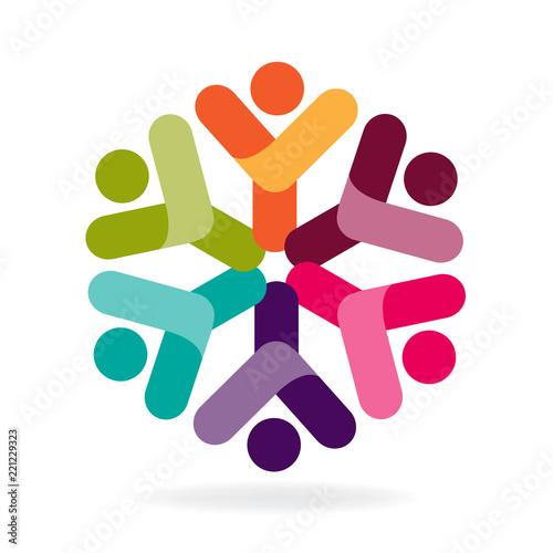 Logo Teamwork Happy Partners Friendship Unity Business Colorful