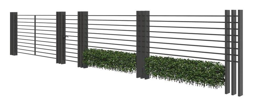 Modern Fence isolated on white background 3D illustration