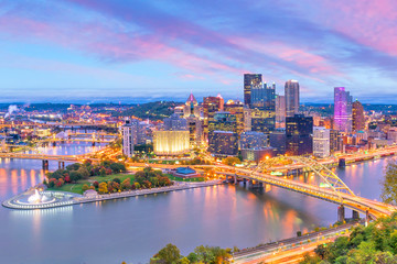 Wall Mural - Downtown skyline of Pittsburgh, Pennsylvania at sunset