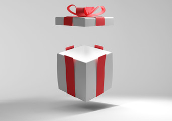 opened present box with shadow 3d-illustration