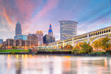 Aluminium Prints American Famous Place View of downtown Cleveland skyline in Ohio USA