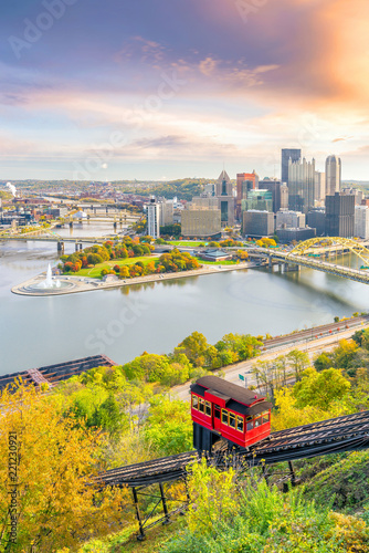 Fotomurales Downtown skyline of Pittsburgh, Pennsylvania at sunset