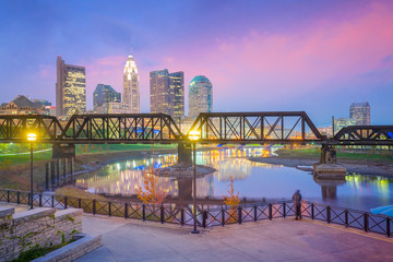 Wall Mural - View of downtown Columbus Ohio Skyline at Sunset
