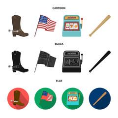 Cowboy boots, national flag, slot machine, baseball bat. USA country set collection icons in cartoon,black,flat style vector symbol stock illustration web.