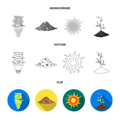 An ecological lamp, the sun, a garbage dump, a sprout from the earth.Bio and ecology set collection icons in flat,outline,monochrome style vector symbol stock illustration web.