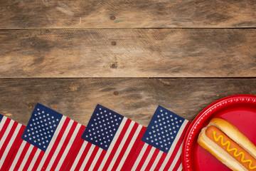 Summer holiday patriotic background hot dog American flag