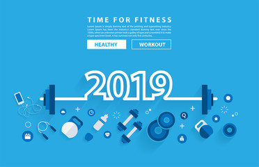 2019 new year fitness concept workout typography alphabet design with equipment. Vector illustration flat modern layout template