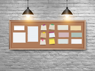 Vector illustration board with wood frame, different note papers, stick note and pins, And retro white brick wall background. Loft workspace concept
