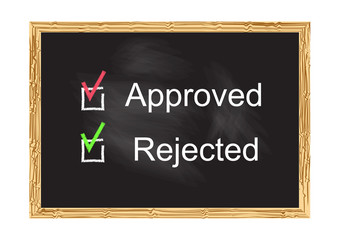 Blackboard record Approved Rejected Vector illustration for design